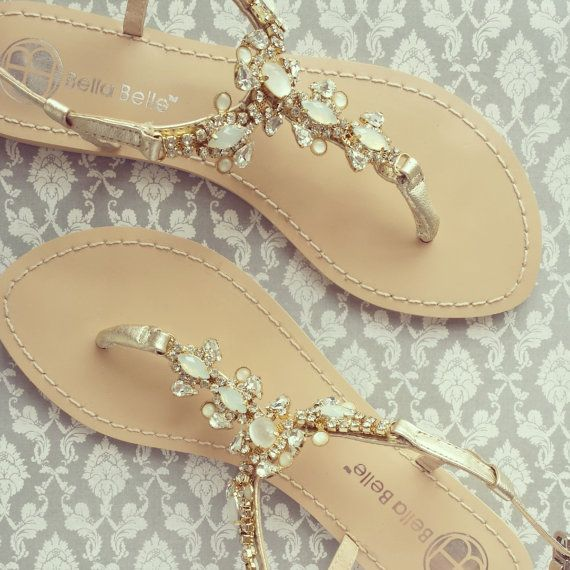 4d3705a52b30 Gold Jeweled Sandals