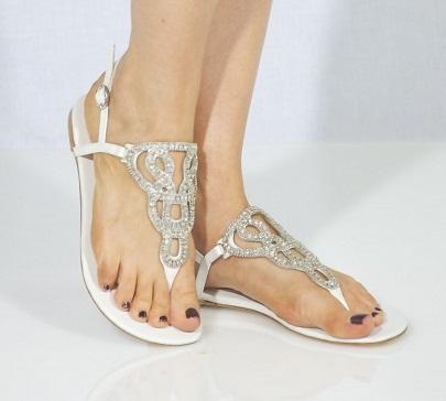 Rhinestone Flat Sandals Wedding