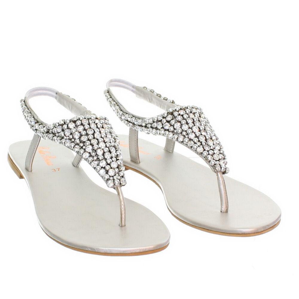 Silver Flat Rhinestone Sandals