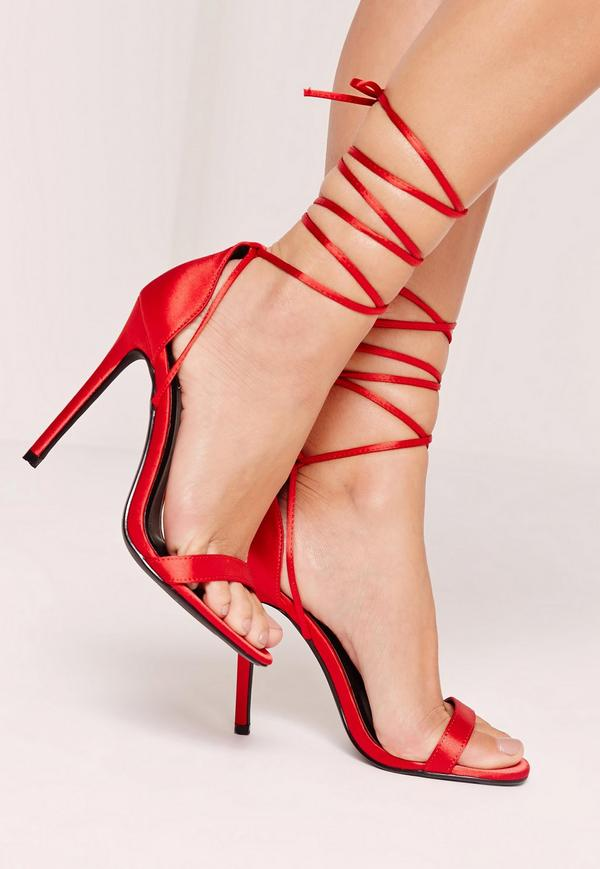 ebdbfb6fb8d Red Lace-up Sandals