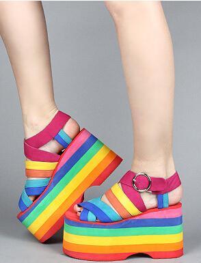 Rainbow Platform Sandals for Women
