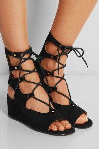 Black Lace Up Wedge Sandals