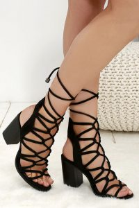 Black Suede Lace Up Sandals