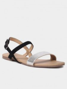 Black and Silver Flat Sandals