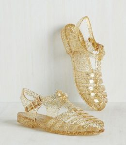 Gold Jelly Sandals Images