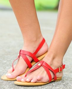 Pictures of Red Thong Sandals