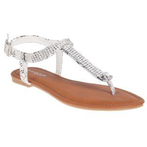 White Rhinestone Sandal