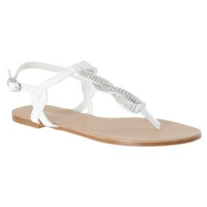 White Sandals with Rhinestones