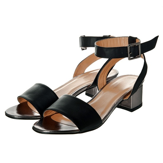 Black Ankle Strap Sandals Low Heel