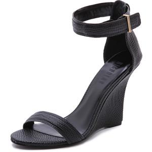 Black Ankle Strap Wedge Sandals