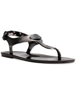 Black Jelly Thong Sandals