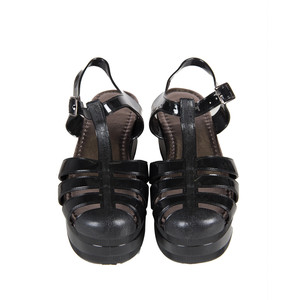 Black Platform Jelly Sandals
