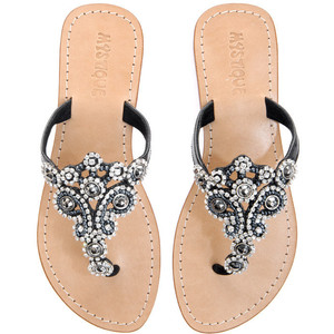 Black Sandals with Rhinestones