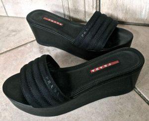 Black Wedge Slide Sandals