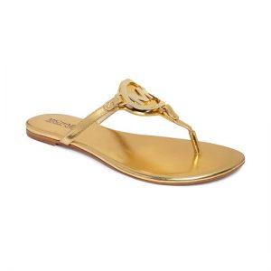 Gold Flat Thong Sandals