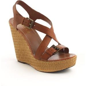 Leather Platform Wedge Sandals