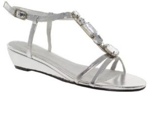 Low Heeled Silver Sandals