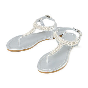Pictures of Silver T Strap Sandals
