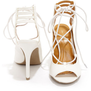 Pictures of White Lace Up Sandals