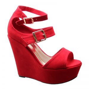 Red Platform Wedge Sandals