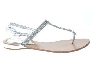 Rhinestone Thong Sandals Silver