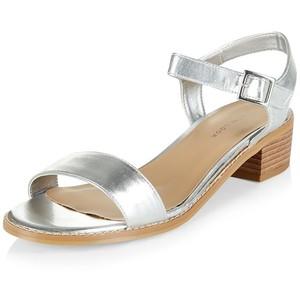Silver Low Heel Sandal