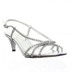 Silver Sandal Low Heel