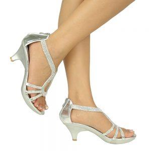 Silver Sandals Low Heel