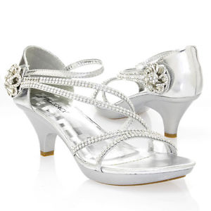Silver Sandals with Low Heels