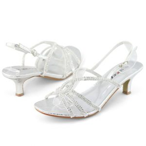 Silver Strappy Sandals Low Heel