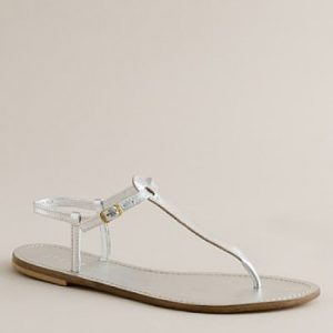 Silver T Strap Sandal