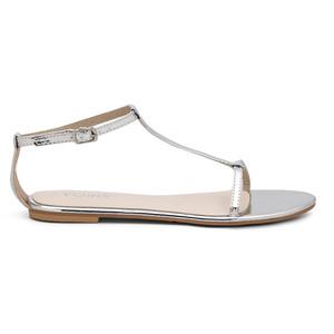 Silver T Strap Sandals Images