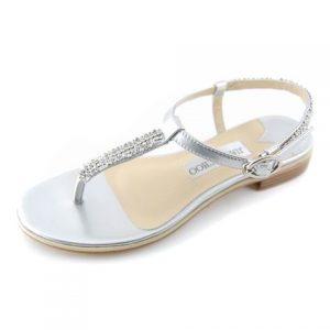 Silver Thong Sandals Flat