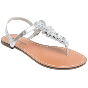 Silver Thong Sandals Flat