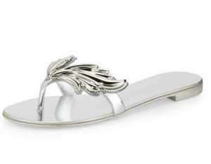 Silver Thong Sandals Photos