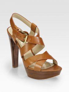 Tan Leather Platform Sandals