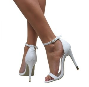 White Ankle Strap Sandal Heels