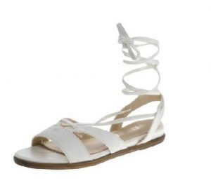 White Lace Up Flat Sandals