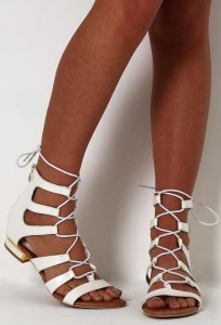White Lace Up Gladiator Sandals