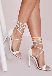White Lace Up Sandal