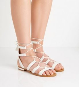 White Lace Up Sandals