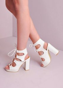 White Lace Up Sandals Heels