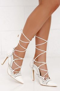 White Lace Up Sandals Images