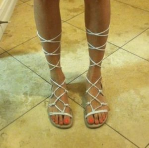 White Lace Up Sandals Pictures