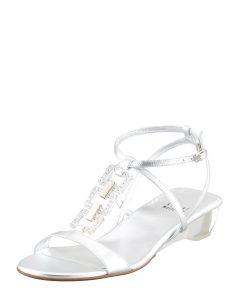 Womens Silver Sandals Low Heel