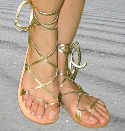 Gold Lace Up Sandals | CraftySandals.com