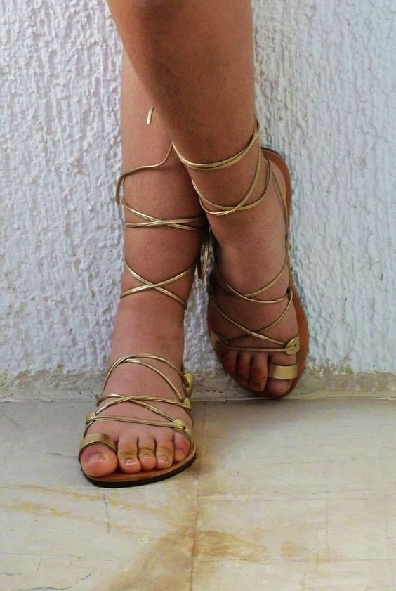 Gold Lace Up Sandals Craftysandals Com