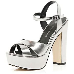 Silver Platform Sandal Heels