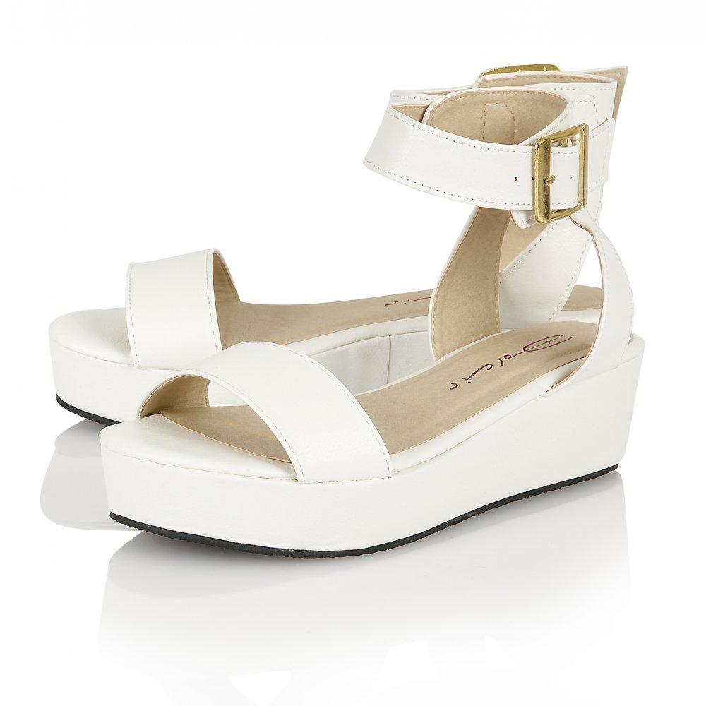 White Flatform Sandals | CraftySandals.com