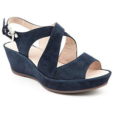 Navy Blue Wedge Sandals | CraftySandals.com